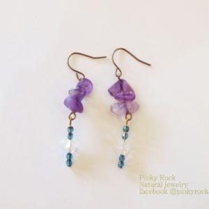 夢元素寶石幸運飾~紫水晶耳環