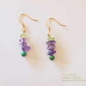夢元素寶石幸運飾~紫水晶、綠松石、橄欖石耳環