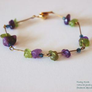 夢元素寶石幸運飾~紫水晶、橄欖石手環