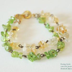 木元素寶石幸運飾~橄欖石+黃水晶手環