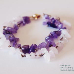 夢元素寶石幸運飾~紫、粉水晶手環